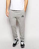 Теплые мужские спортивные штаны Adidas Адидас серые (РЕПЛИКА)