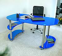 """Стол письменный стеклянный на хромированных ножках Maxi WR XL 1650/900 """"синий"""" стекло, хром"""