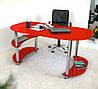 """Стол письменный стеклянный на хромированных ножках Maxi WR XL 1650/900 """"красный"""" стекло, хром"""