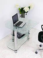 """Стол компьютерный стеклянный на хромированных ножках Maxi КOMР 803 """"абстракция"""" стекло, хром, фото 1"""