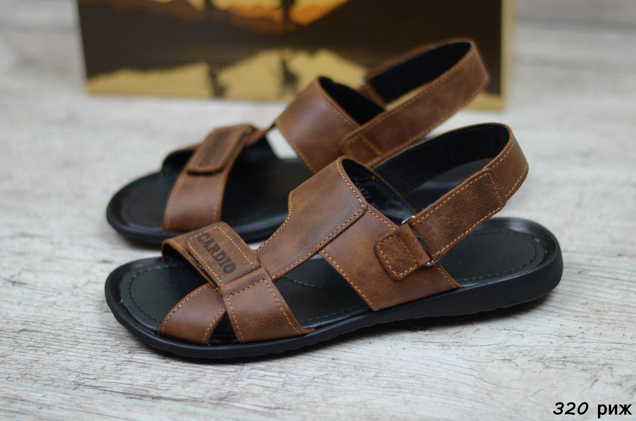 Мужские кожаные сандалии Cardio коричневые