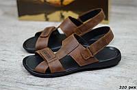 Мужские кожаные сандалии Cardio коричневые, фото 1
