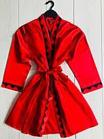 Красный атласный халат с кружевом женский