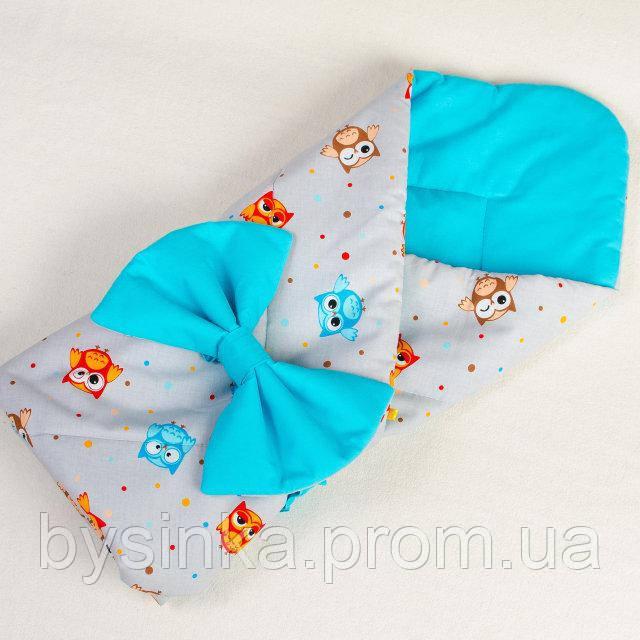 Летний конверт - одеяло на выписку BabySoon Веселые совы 80см х 85см бирюзовый (006)