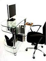 """Стол компьютерный стеклянный на хромированных ножках Maxi КOMР 804 """"прозрачный"""" стекло, хром, фото 1"""