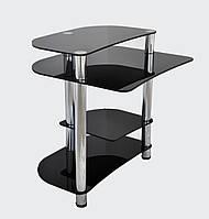 """Стол компьютерный стеклянный на хромированных ножках Maxi КOMР 804 """"черный"""" стекло, хром, фото 1"""