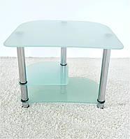 """Стол компьютерный стеклянный на хромированных ножках Maxi КOMР 803 """"прозрачный"""" стекло, хром"""