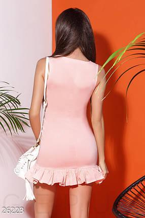 Короткое платье трапеция с воланами по фигуре бенгалин розовое, фото 2
