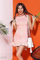 Короткое платье трапеция с воланами по фигуре бенгалин розовое