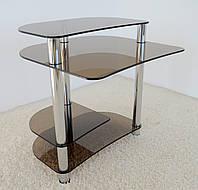 """Стол компьютерный стеклянный на хромированных ножках Maxi КOMР 804 """"тонированный"""" стекло, хром, фото 1"""