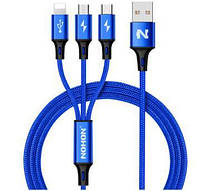 Комплект-кабель Nohon 3 в 1 (Lightning/Type-C/Micro-USB)  Blue