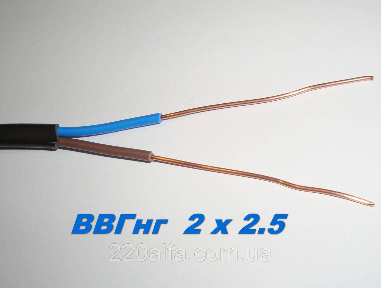 Силовой медный провод кабель ВВГнг 2х 2.5 моножила полноценный.