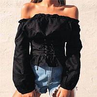 Женская блуза с поясом на шнуровке, в расцветках. ФК-1-0418 черный