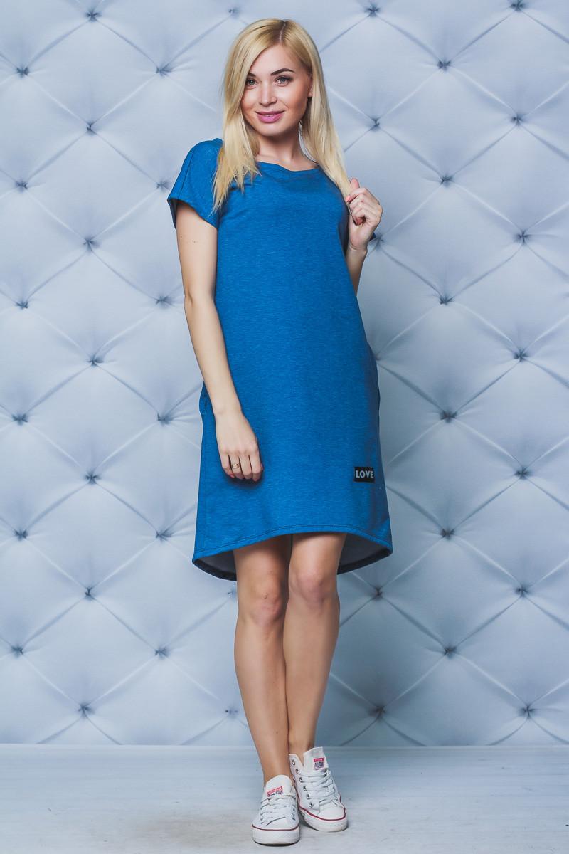 Платье с коротким рукавом джинс