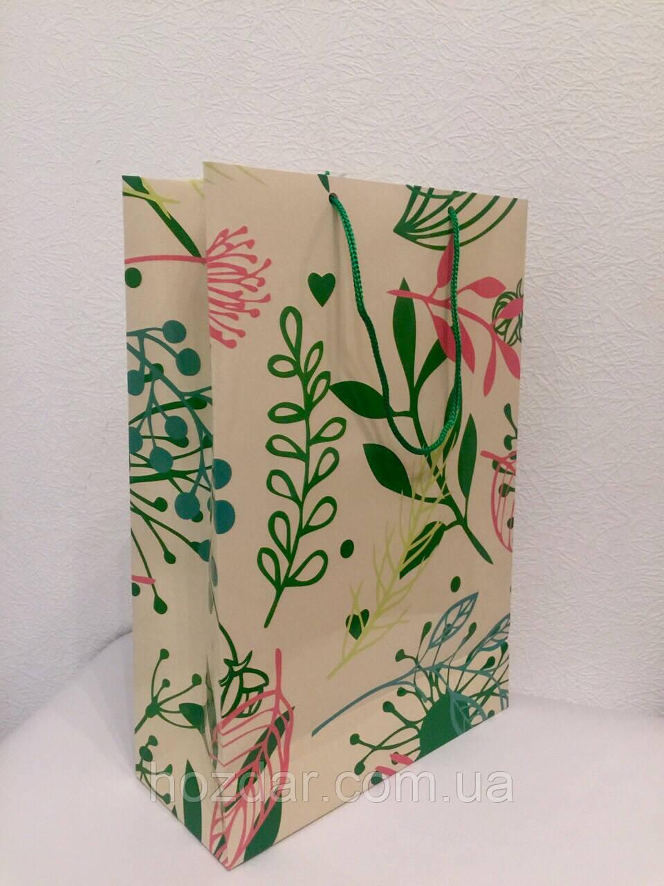Пакет подарочный бумажный формат А 4 21х31х9 (30-012)