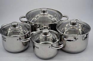 Набор нержавеющих кастрюль. 8 предметов (2л, 3л, 4л, 6,5л) - Benson (Германия)