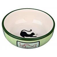 Трикси Trixie керамическая миска для котов с кошкой и рыбкой объеми 350 мл