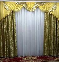 "Комплект: ламбрекен с шторами ""Дана"" на карниз 3 м Разные цвета, фото 1"