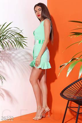 Красивое платье мини облегающее с воланом бенгалин  мятное, фото 2