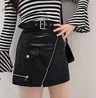 Женская юбка трапеция из мягкой эко кожи с молниями. ФК-4-0418