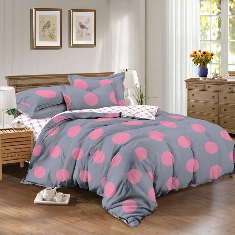 Двуспальный комплект 180*220 с евро простынью 220*240 из сатина Розовый Шарик