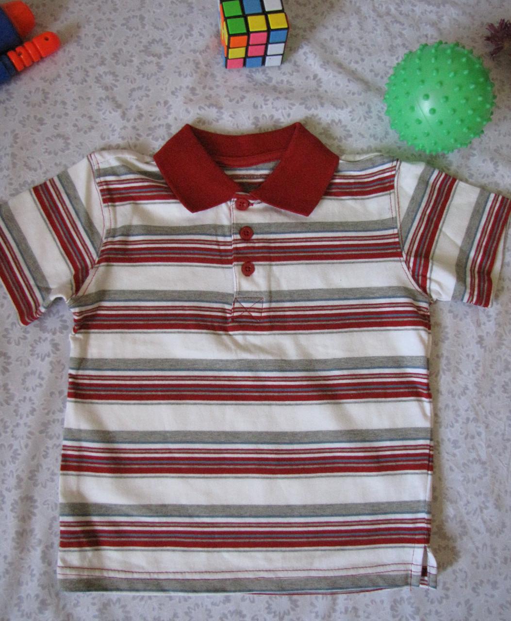 Футболка поло Wonder Kids оригинал рост 98 см белая+красная 07124, фото 1