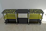 "Тумба ТВ стеклянная на хромированных ножках Махі EXR 1600 ""черно-желтая"" стекло, хром, фото 1"