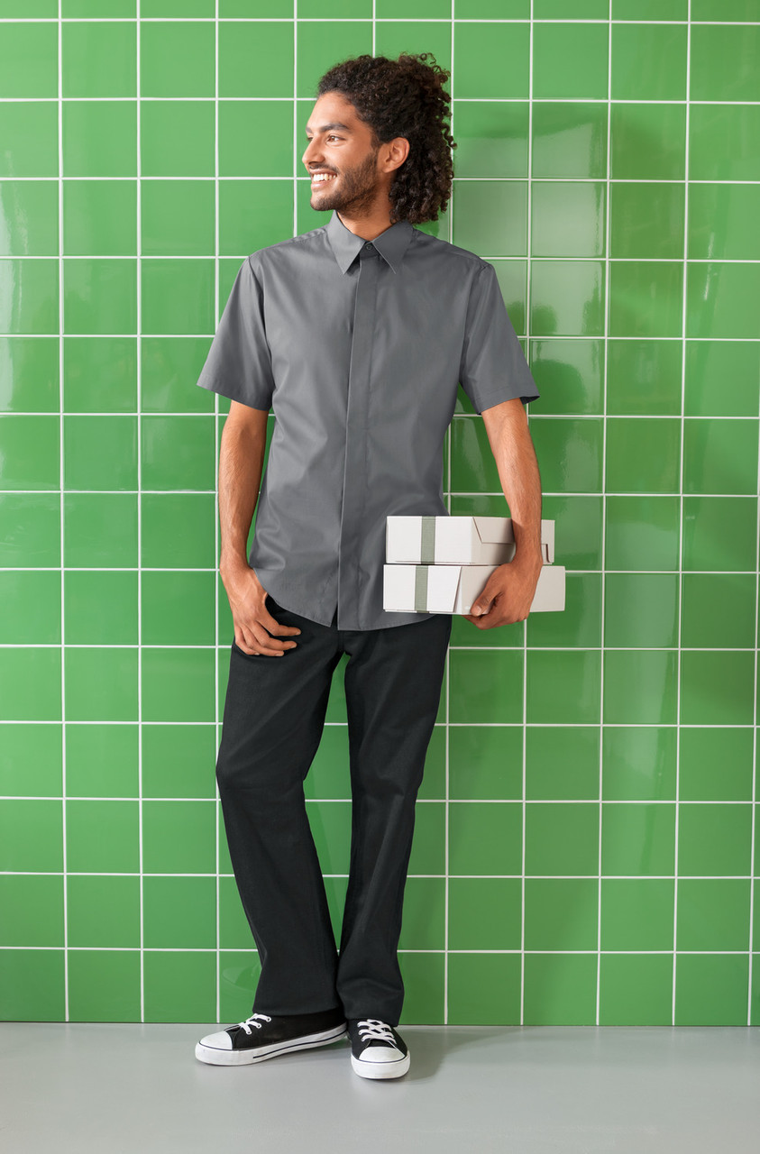Рубашка официанта, бармена TEXSTYLE мужская на потайной застежке короткий рукав
