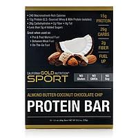 California Gold Nutrition, Протеиновый батончик, Миндальное масло, кокос, шокооадная крошка, 12 батончиков, 2,1 унц. (60 г) в каждом