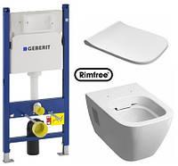 Комплект: MODO Rimfree унитаз подвесной, инсталляция Geberit Duofix 3в1, сидение Duroplast soft-close Slim