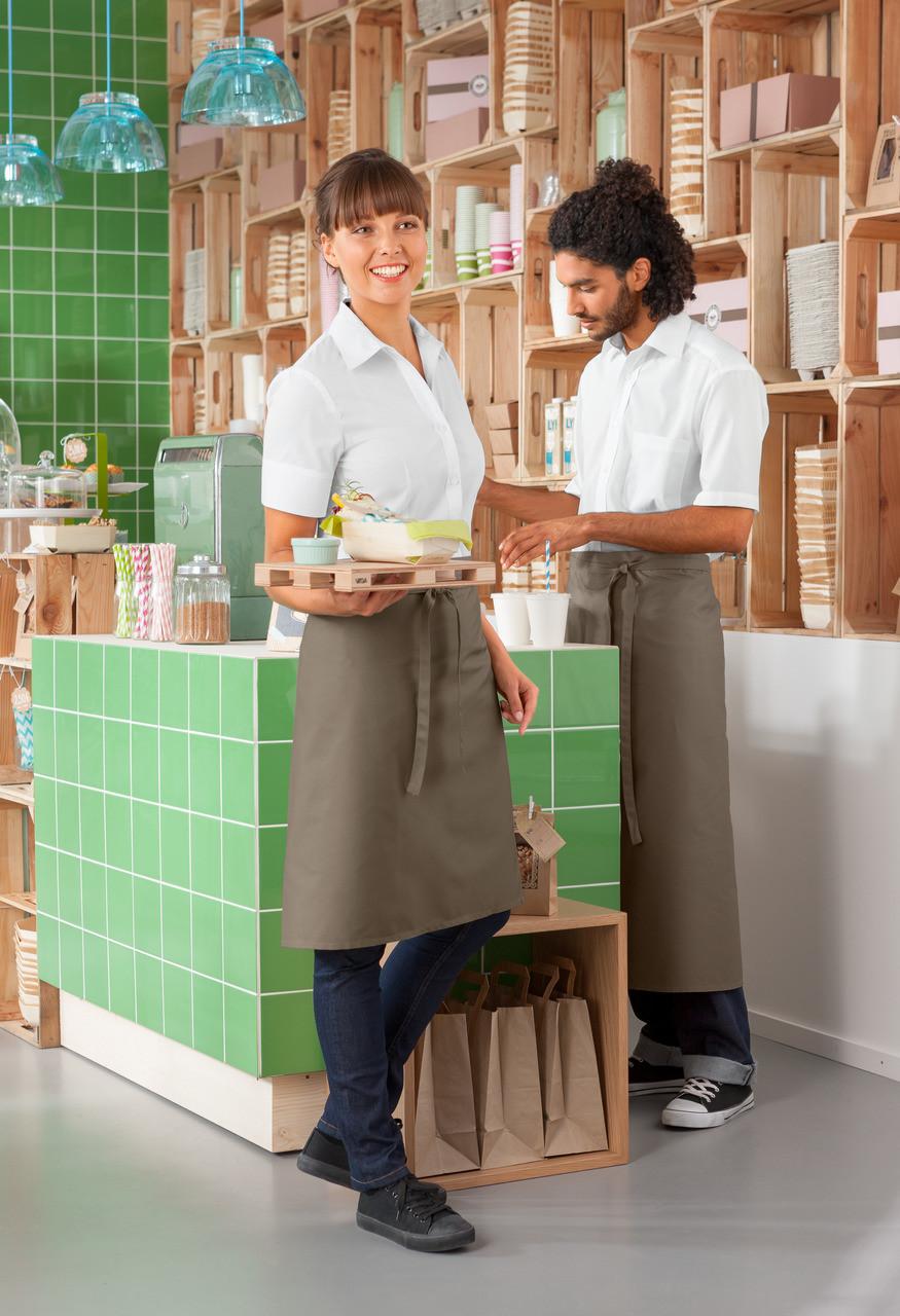 Рубашка официанта и бармена мужская TEXSTYLE с коротким рукавом белая