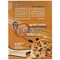 Quest Nutrition, QuestBar, протеиновый батончик, овсяное печенье с кусочками шоколада, 12 батончиков по 2,1 унции (60г) каждый