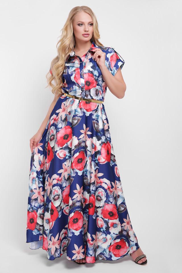 Платье большого размера Алёна синие маки d6f1f4c2b6a36