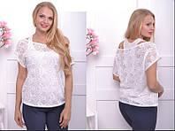 Гипюровая летняя блузка с майкой, с 46-60 размер