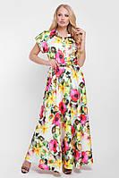 Платье большого размера Алёна желтое, длинное платье большого размера