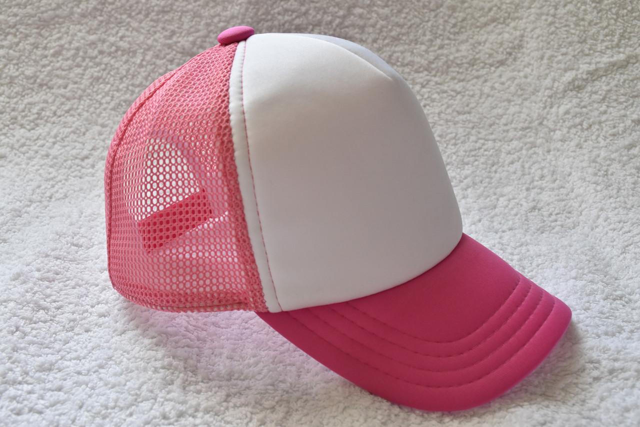 Кепка базовая розовая с белым