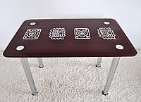 """Стол кухонный стеклянный на хромированных ножках Maxi DT R 1100/650 """"тамплиер"""" стекло, хром"""