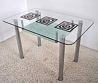 """Стол обеденный стеклянный на хромированных ножках Maxi  DT R2 1100/650 """"капучино"""" стекло, хром, фото 1"""