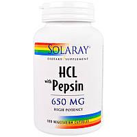 Solaray, Бетаин HCL  с пепсином, 650 мг, 100 капсул
