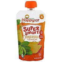 Nurture Inc. (Happy Baby), Happy Tot, Super Smart, Фруктово-овощное пюре, Уровень 4, Органические бананы, манго, шпинат и кокосовое молоко, 113 г (4