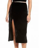 Женская черная велюровая юбка миди KENDALL+KYLIE, фото 1