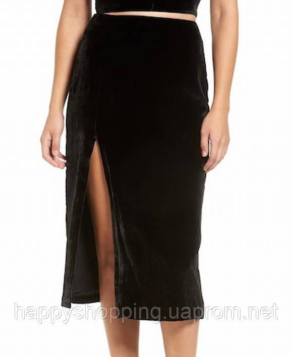 Женская черная велюровая юбка миди KENDALL+KYLIE