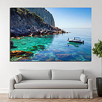 1409 Recreation on the boat near the shore of a beautiful mountain. Couple traveling on the sea near the islan