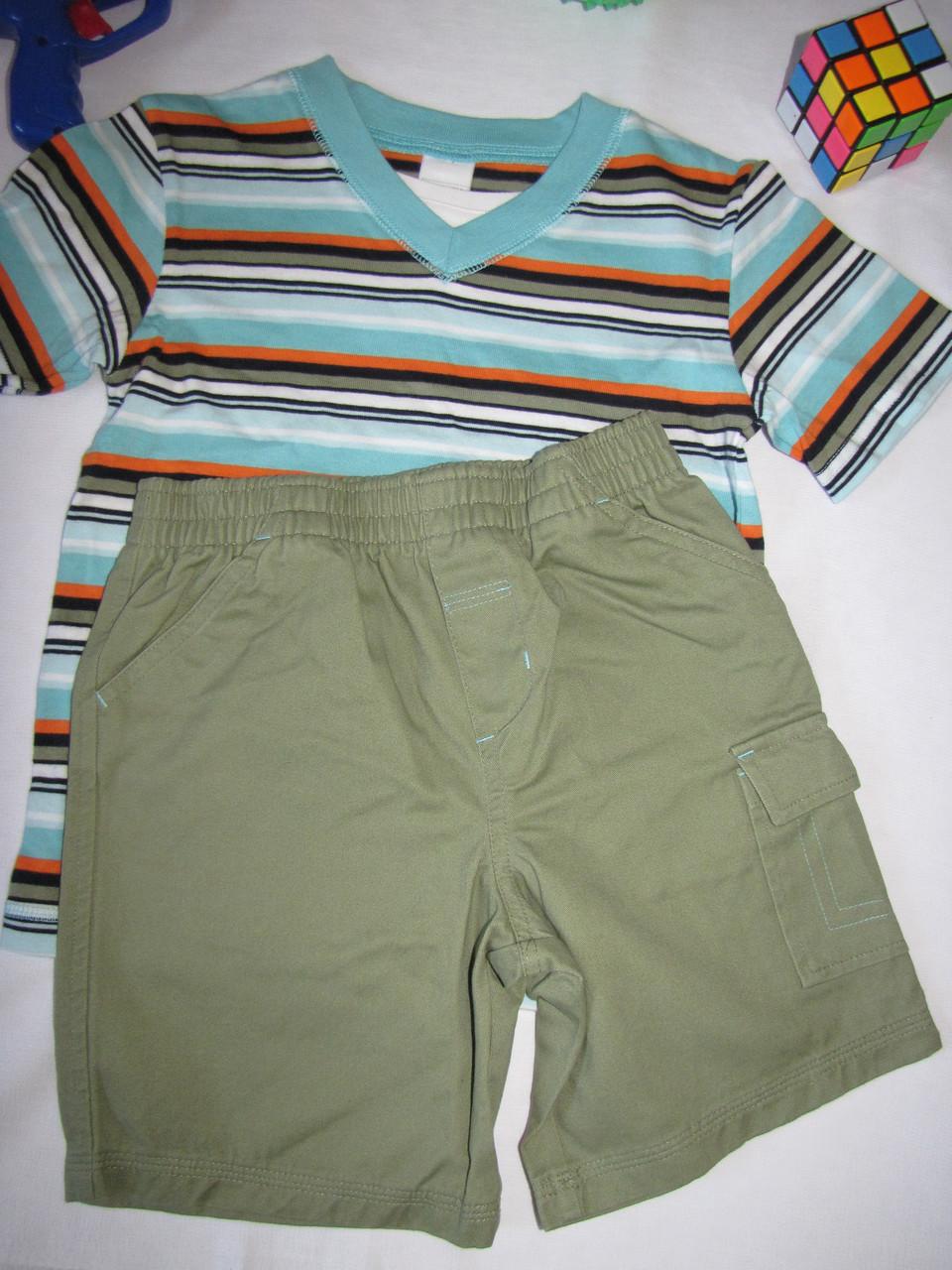 Костюм футболка и шорты Wonder Kids оригинал рост 104 см зеленый+хаки 07129