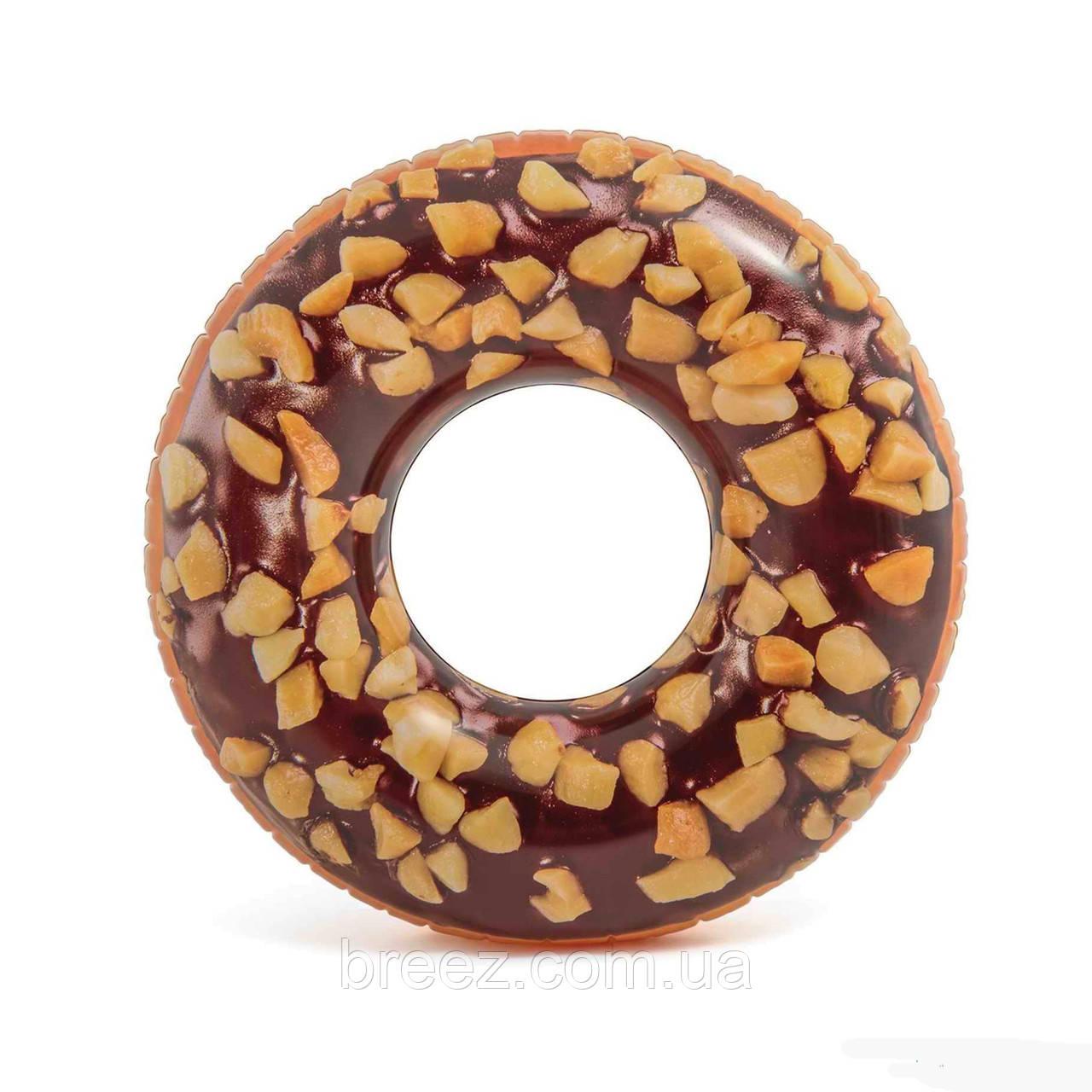 Надувной круг для плавания Intex Шоколадно-ореховый пончик 114 см