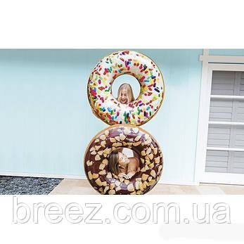Надувной круг для плавания Intex Шоколадно-ореховый пончик 114 см, фото 2
