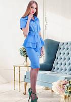 Офисное платье с поясом цвета перванш