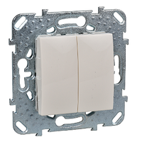 Выключатель кнопочный 2-й Слоновая кость Unica Schneider, MGU5.211.25ZD