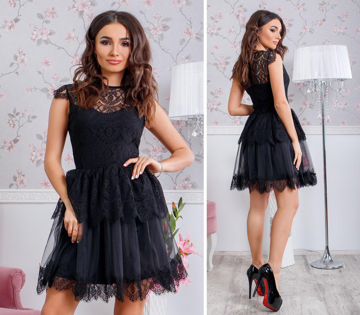 e7b440dbafe Черное кружевное платье - Интернет-магазин