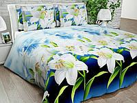 Бязь Gold Белые лилии на голубом 1076